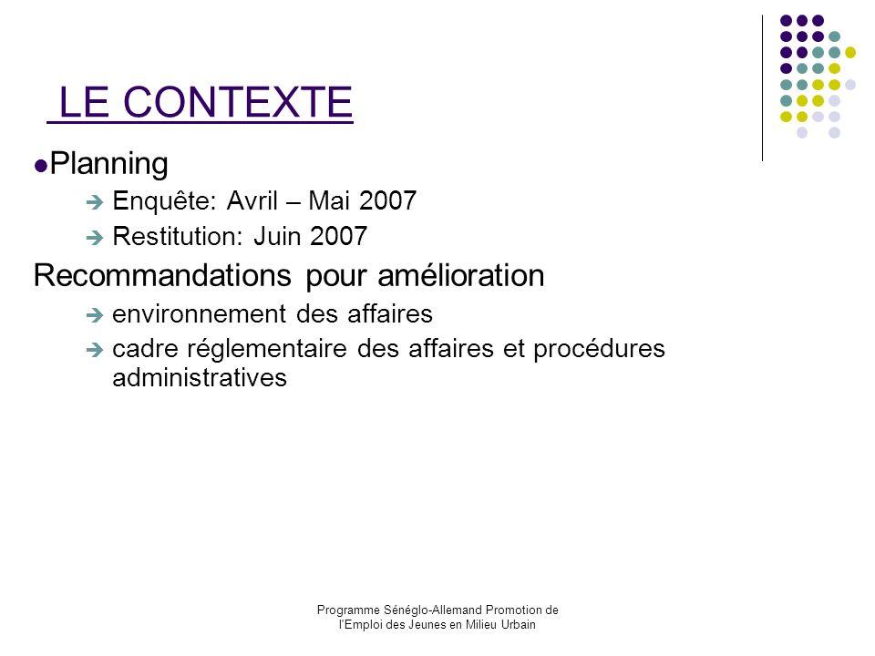 Programme Sénéglo-Allemand Promotion de l'Emploi des Jeunes en Milieu Urbain LE CONTEXTE Planning Enquête: Avril – Mai 2007 Restitution: Juin 2007 Rec