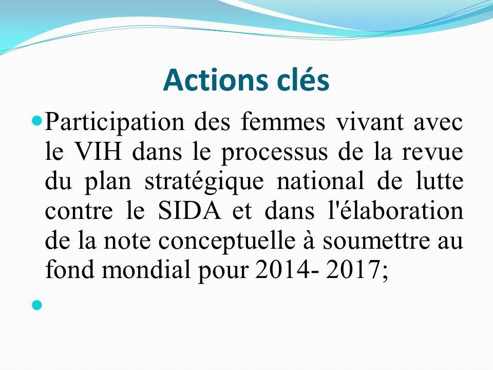 Actions clés Participation des femmes vivant avec le VIH dans le processus de la revue du plan stratégique national de lutte contre le SIDA et dans l'