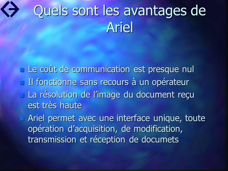 Quels sont les avantages de Ariel n Le coût de communication est presque nul n Il fonctionne sans recours à un opérateur n La résolution de limage du