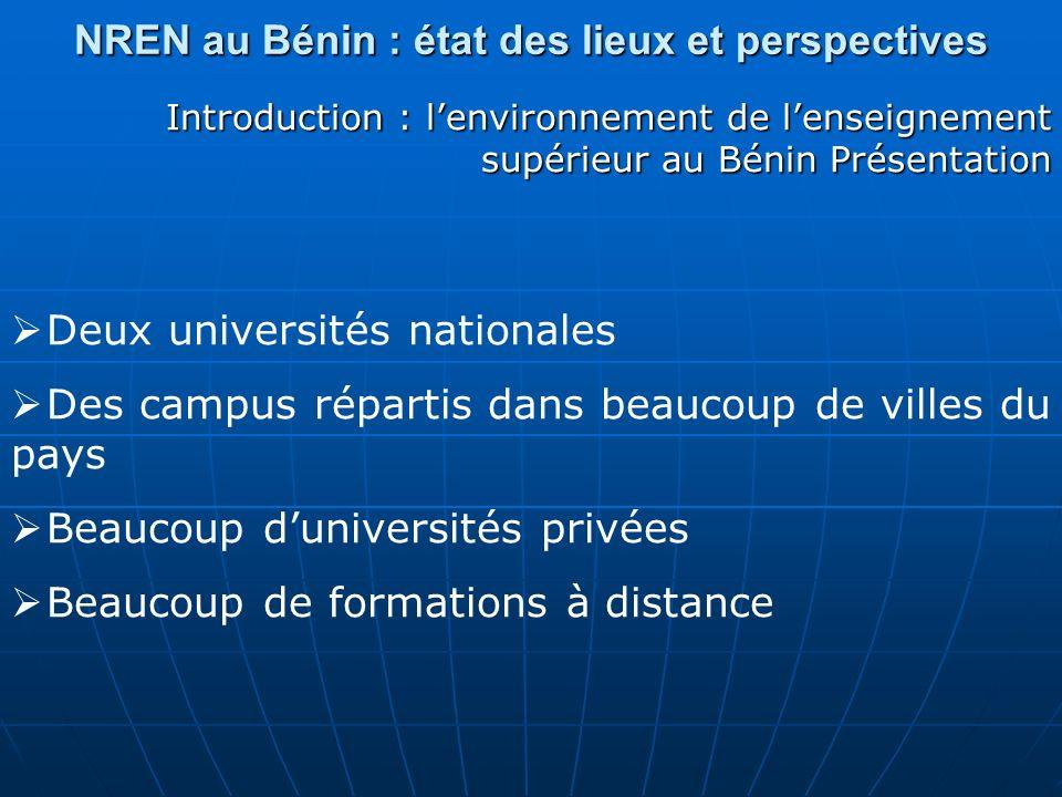 NREN au Bénin : état des lieux et perspectives Introduction : lenvironnement de lenseignement supérieur au Bénin Présentation Deux universités nationa