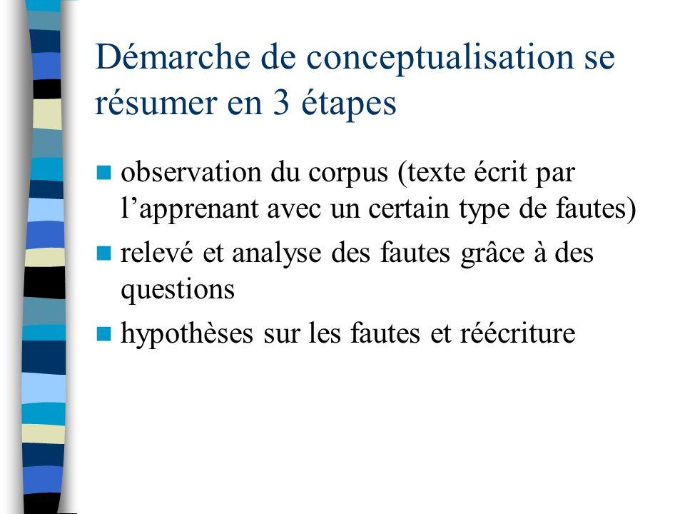 Démarche de conceptualisation se résumer en 3 étapes observation du corpus (texte écrit par lapprenant avec un certain type de fautes) relevé et analy