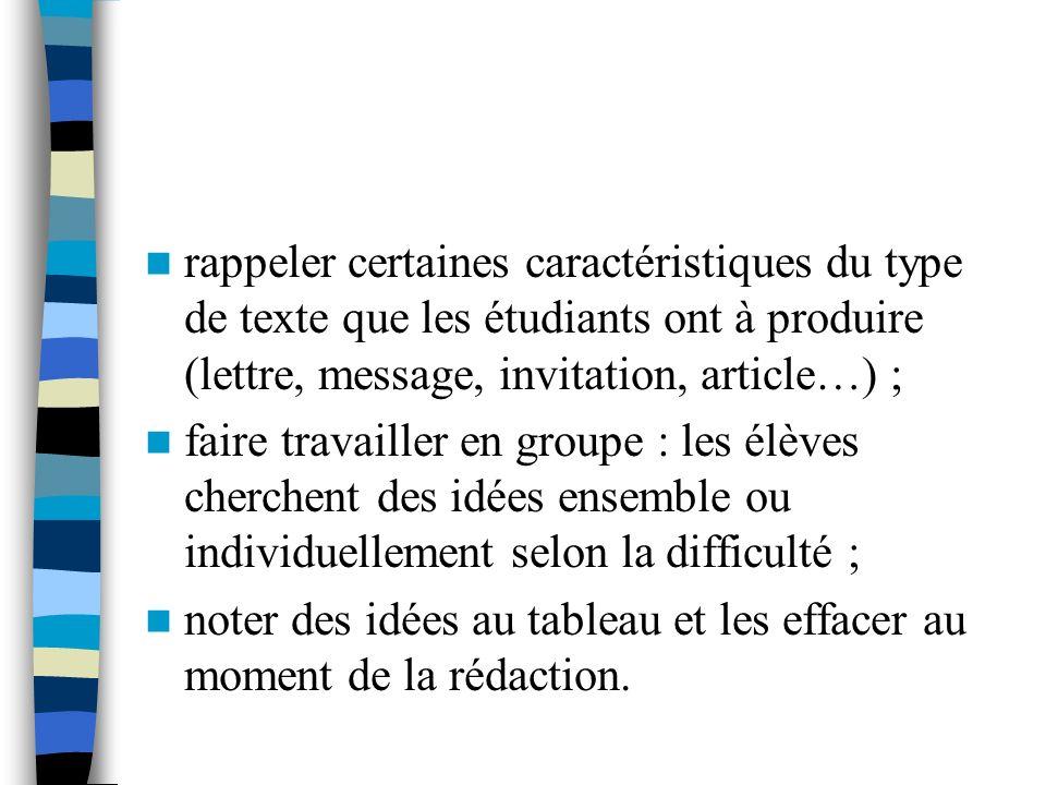 rappeler certaines caractéristiques du type de texte que les étudiants ont à produire (lettre, message, invitation, article…) ; faire travailler en gr