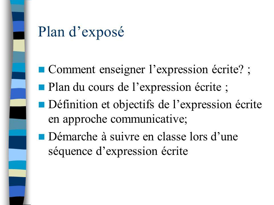 Plan dexposé Comment enseigner lexpression écrite? ; Plan du cours de lexpression écrite ; Définition et objectifs de lexpression écrite en approche c