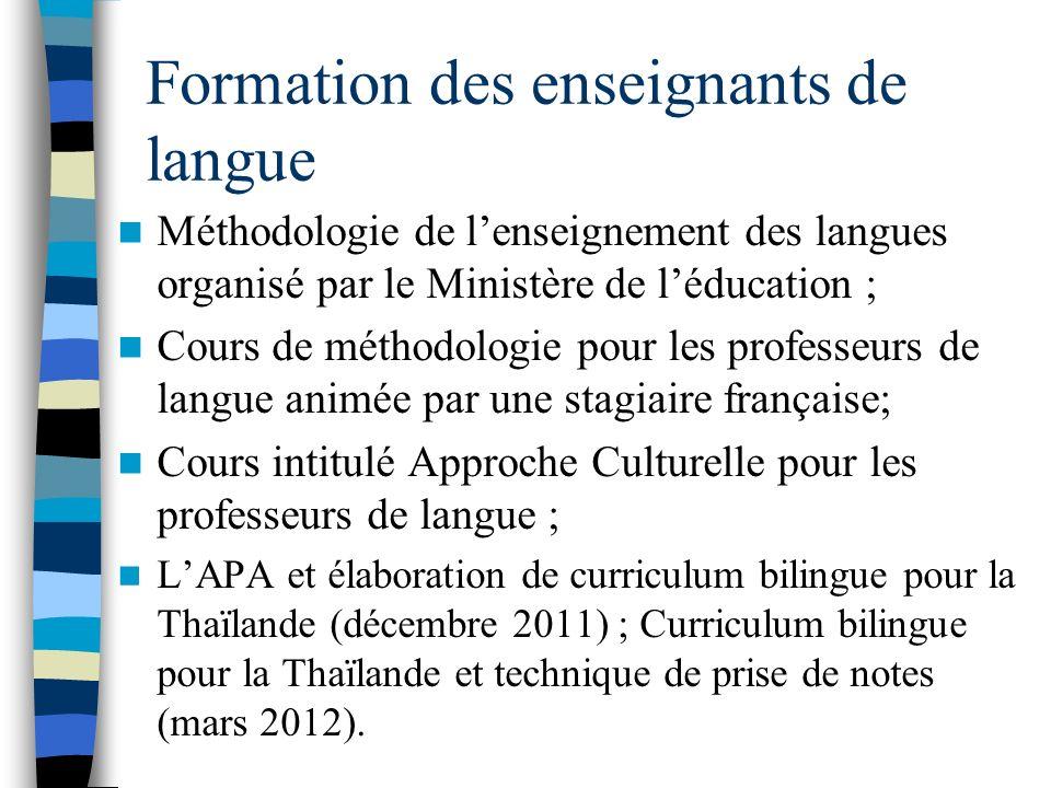 Formation des enseignants de langue Méthodologie de lenseignement des langues organisé par le Ministère de léducation ; Cours de méthodologie pour les