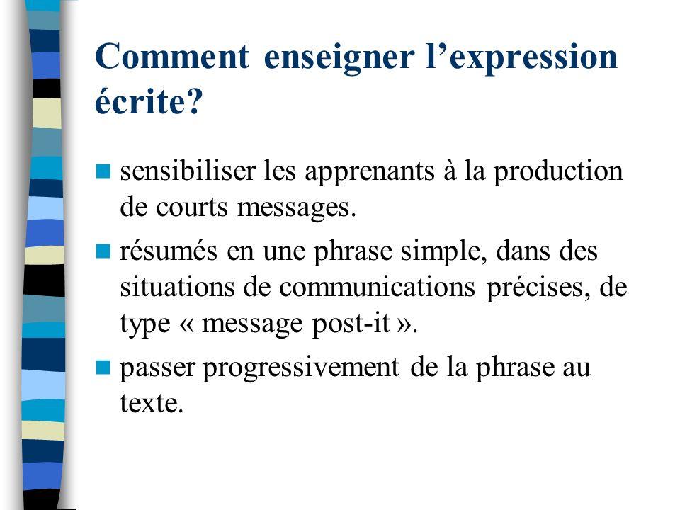Comment enseigner lexpression écrite? sensibiliser les apprenants à la production de courts messages. résumés en une phrase simple, dans des situation
