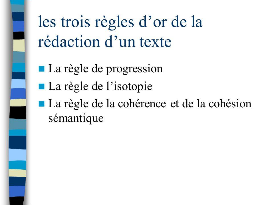 les trois règles dor de la rédaction dun texte La règle de progression La règle de lisotopie La règle de la cohérence et de la cohésion sémantique
