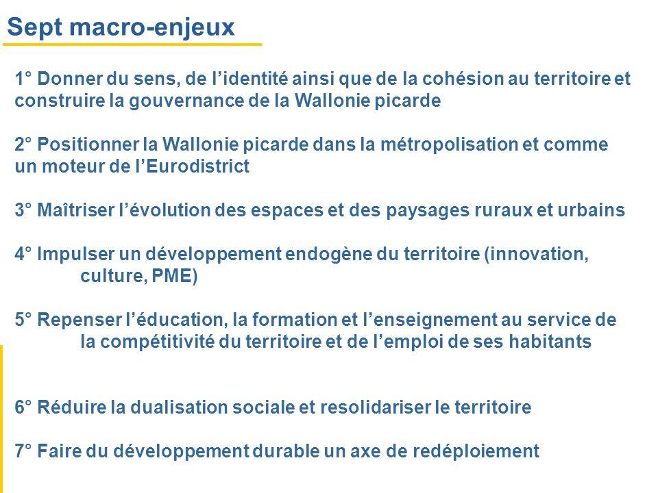 Sept macro-enjeux 1° Donner du sens, de lidentité ainsi que de la cohésion au territoire et construire la gouvernance de la Wallonie picarde 2° Positi