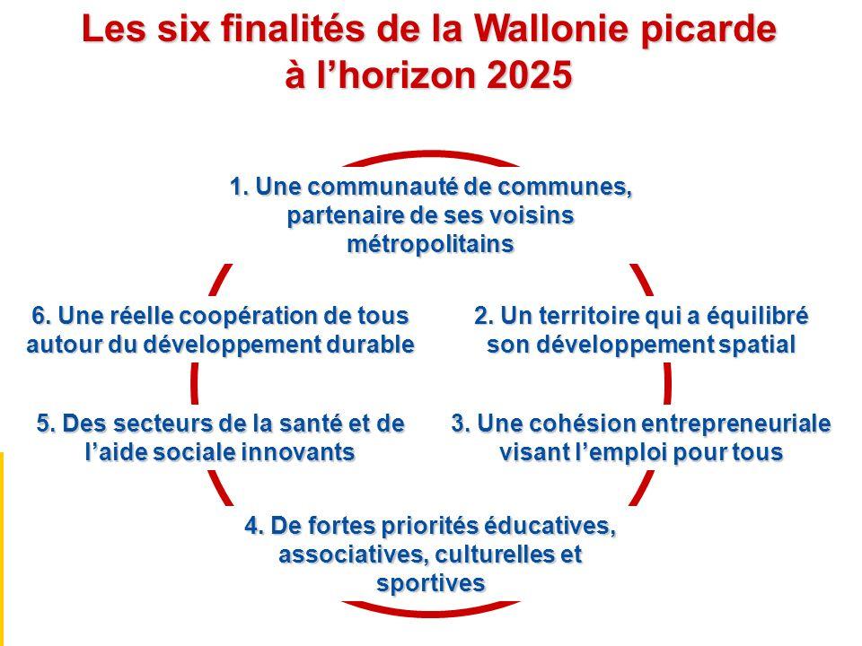 Les six finalités de la Wallonie picarde à lhorizon 2025 1. Une communauté de communes, partenaire de ses voisins métropolitains 2. Un territoire qui