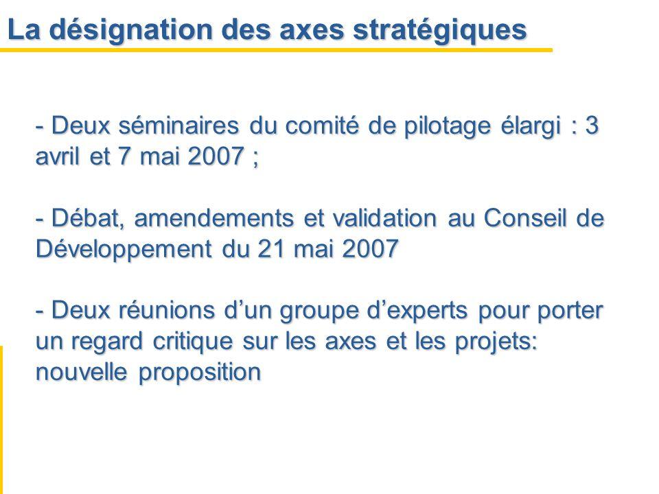 La désignation des axes stratégiques - Deux séminaires du comité de pilotage élargi : 3 avril et 7 mai 2007 ; - Débat, amendements et validation au Co