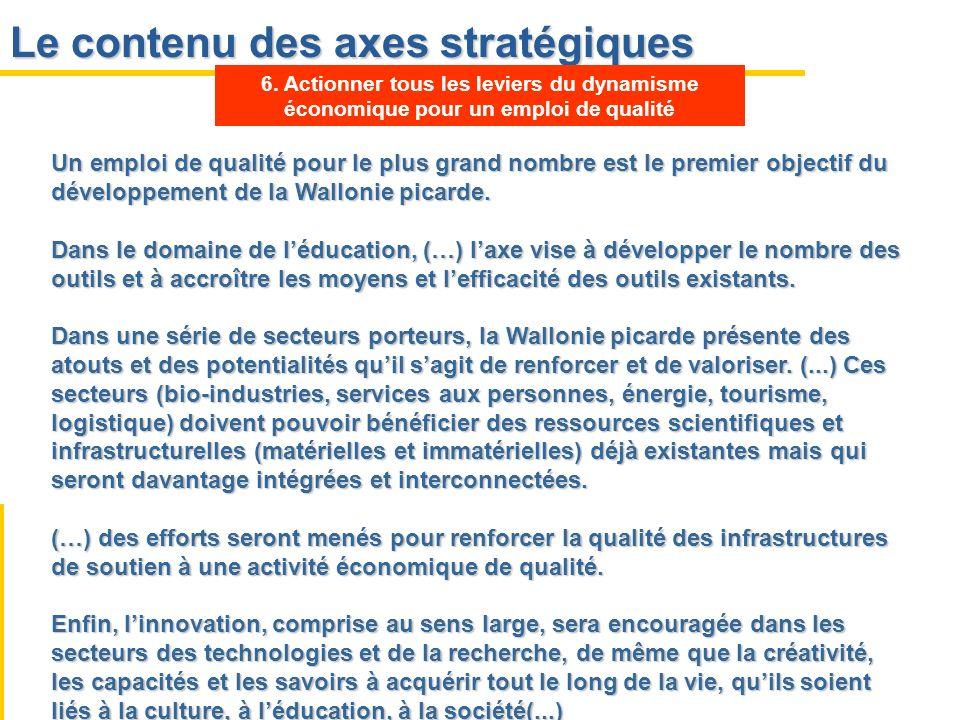 Le contenu des axes stratégiques Un emploi de qualité pour le plus grand nombre est le premier objectif du développement de la Wallonie picarde. Dans