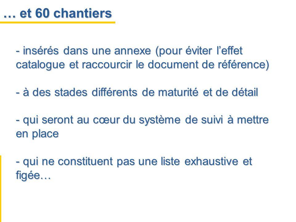 … et 60 chantiers - insérés dans une annexe (pour éviter leffet catalogue et raccourcir le document de référence) - à des stades différents de maturit