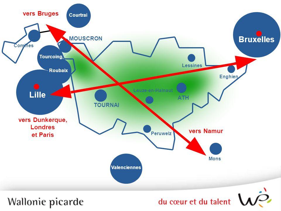 TOURNAI Lille Valenciennes Mons Peruwelz ATH Enghien Tourcoing Comines Roubaix Lessines Leuze-en-Hainaut vers Namur vers Bruges vers Dunkerque, Londre