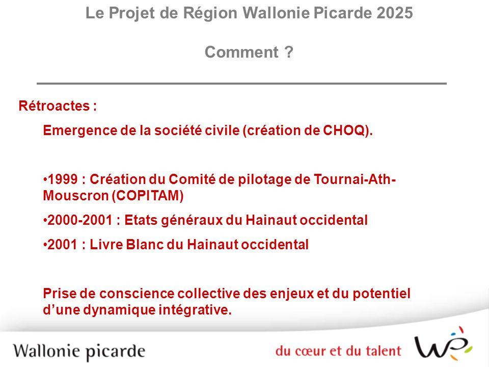 Le contenu des axes stratégiques La Wallonie picarde a la chance de se situer aux portes de deux métropoles, Lille à louest, Bruxelles à lest.