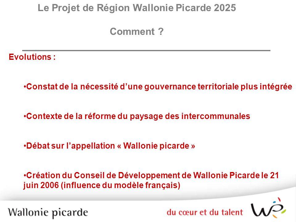 Le Projet de Région Wallonie Picarde 2025 Comment ? Evolutions : Constat de la nécessité dune gouvernance territoriale plus intégrée Contexte de la ré