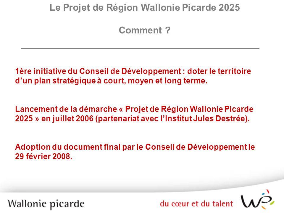 Le Projet de Région Wallonie Picarde 2025 Comment ? 1ère initiative du Conseil de Développement : doter le territoire dun plan stratégique à court, mo