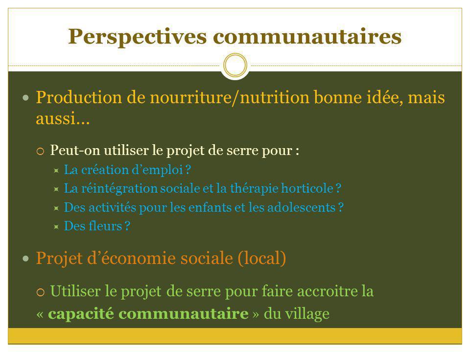 Perspectives communautaires Production de nourriture/nutrition bonne idée, mais aussi... Peut-on utiliser le projet de serre pour : La création demplo