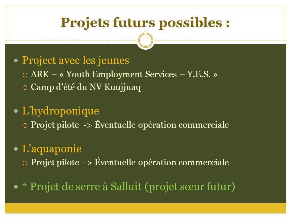 Projets futurs possibles : Project avec les jeunes ARK – « Youth Employment Services – Y.E.S. » Camp dété du NV Kuujjuaq Lhydroponique Projet pilote -