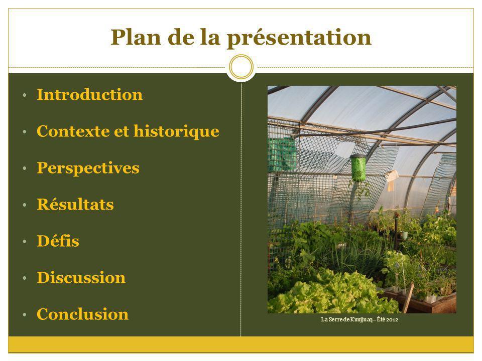 Plan de la présentation Introduction Contexte et historique Perspectives Résultats Défis Discussion Conclusion La Serre de Kuujjuaq– Été 2012