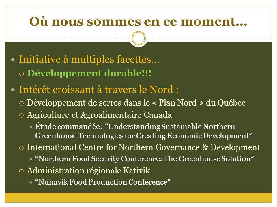 Où nous sommes en ce moment... Initiative à multiples facettes… Développement durable!!! Intérêt croissant à travers le Nord : Développement de serres