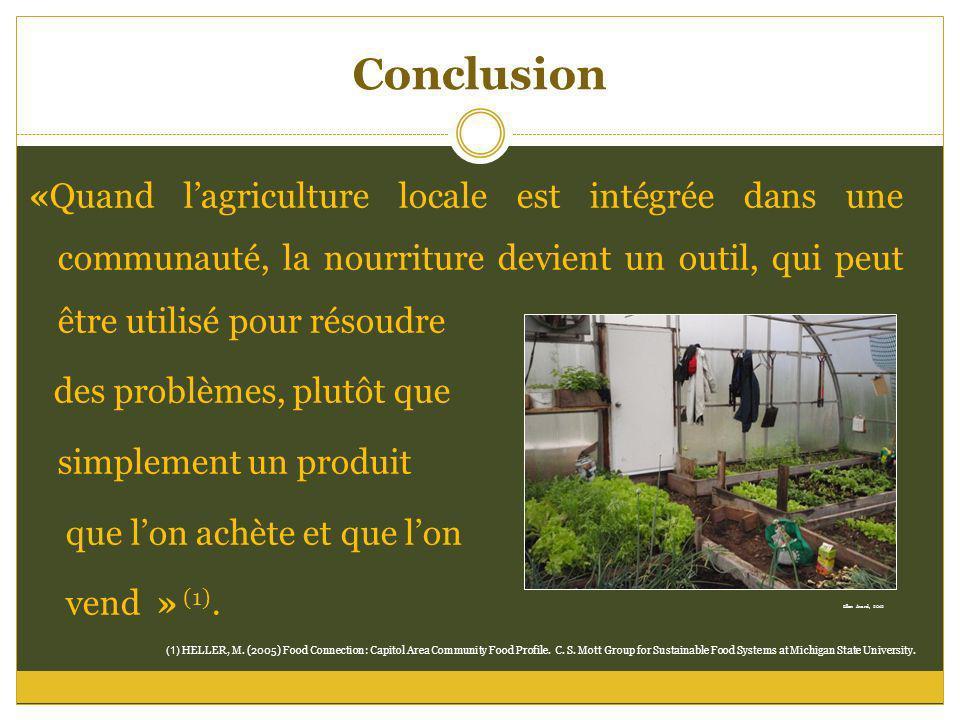 Conclusion «Quand lagriculture locale est intégrée dans une communauté, la nourriture devient un outil, qui peut être utilisé pour résoudre des problè