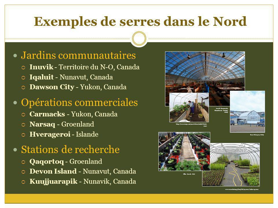www.nunalerineq.gl/english/uperna/index-uperna Exemples de serres dans le Nord Jardins communautaires Inuvik - Territoire du N-O, Canada Iqaluit - Nun
