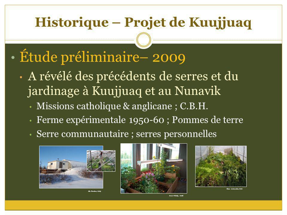 Historique – Projet de Kuujjuaq Étude préliminaire– 2009 A révélé des précédents de serres et du jardinage à Kuujjuaq et au Nunavik Missions catholiqu