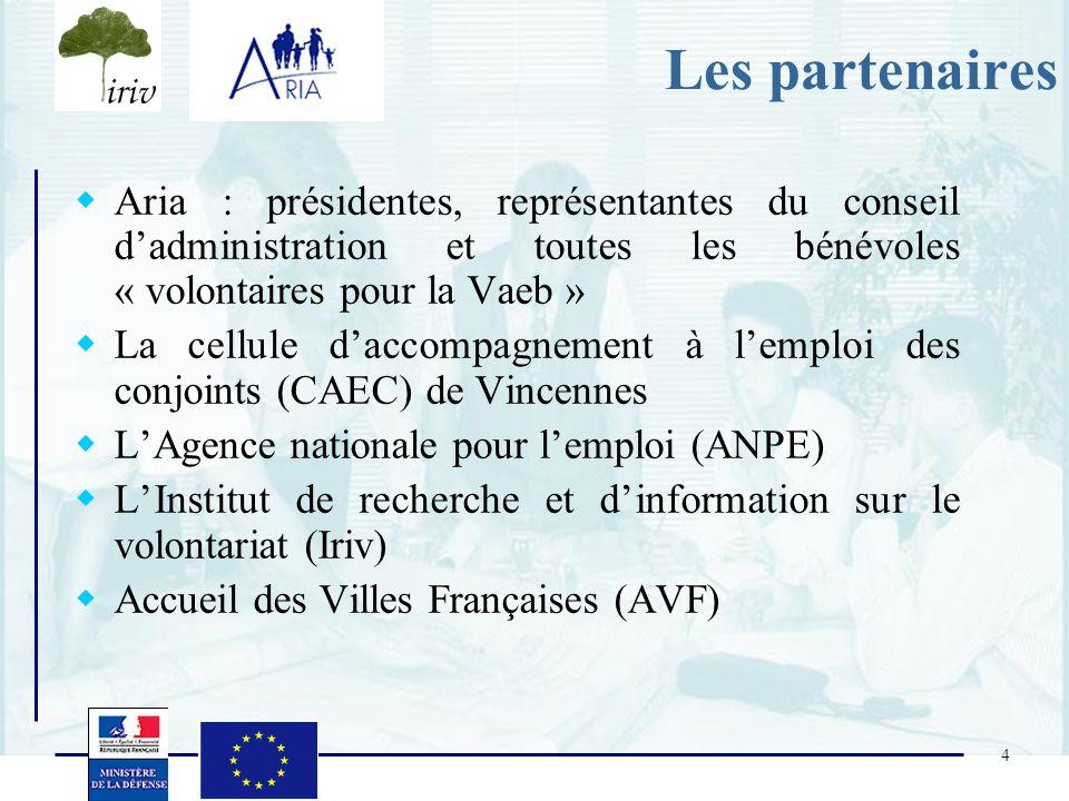 4 Les partenaires Aria : présidentes, représentantes du conseil dadministration et toutes les bénévoles « volontaires pour la Vaeb » La cellule daccom