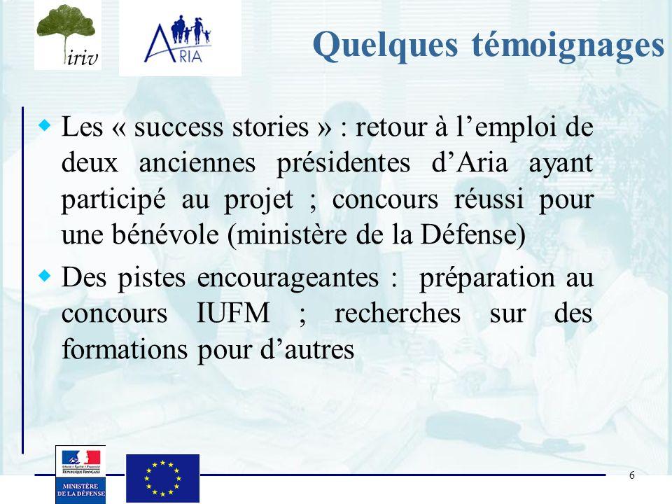 6 Quelques témoignages Les « success stories » : retour à lemploi de deux anciennes présidentes dAria ayant participé au projet ; concours réussi pour