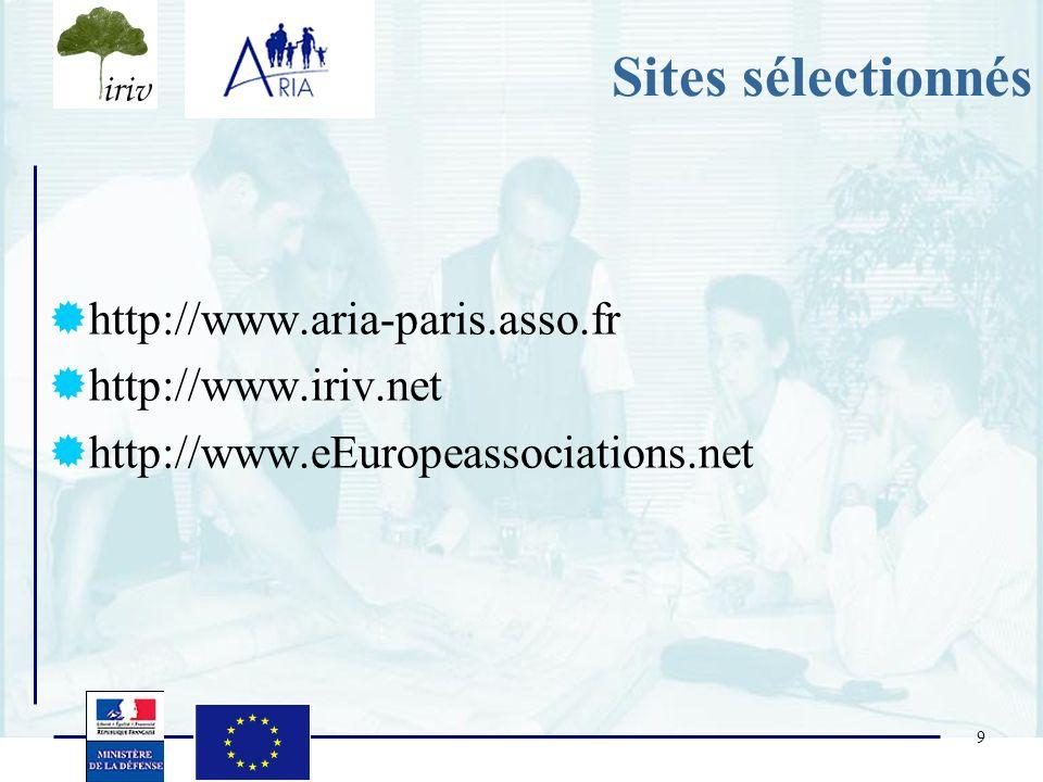 9 Sites sélectionnés http://www.aria-paris.asso.fr http://www.iriv.net http://www.eEuropeassociations.net