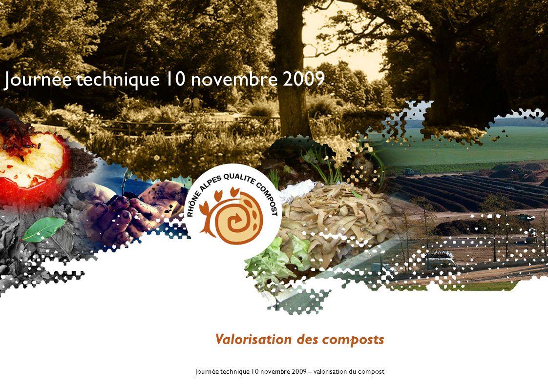 Journée technique 10 novembre 2009 – valorisation du compost 20 sites adhérents Les adhérents 2009 4 sites > 20 000 t 6 sites de 10 000 t à 20 000 t 6 sites de 5 000 t à 10 000 t 2 sites de 2 000 t et 2 sites < 1 000 t
