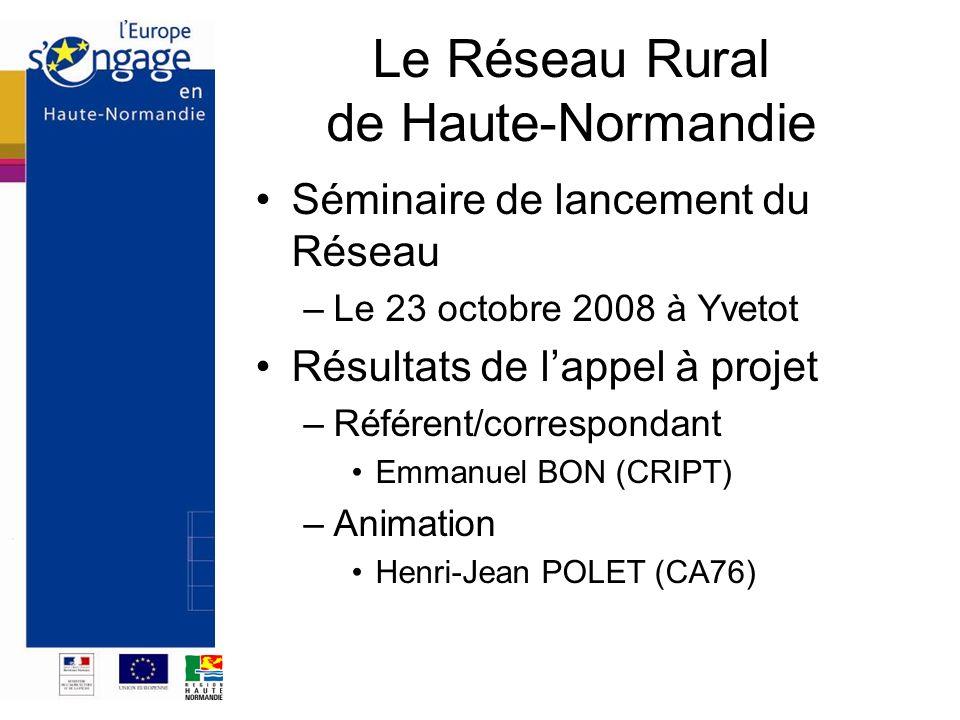 Le Réseau Rural de Haute-Normandie Séminaire de lancement du Réseau –Le 23 octobre 2008 à Yvetot Résultats de lappel à projet –Référent/correspondant