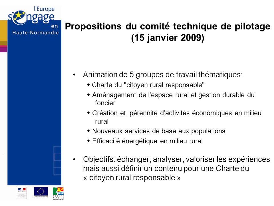 Propositions du comité technique de pilotage (15 janvier 2009) Animation de 5 groupes de travail thématiques: Charte du