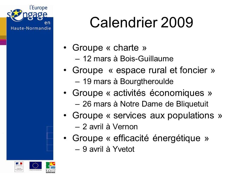 Calendrier 2009 Groupe « charte » –12 mars à Bois-Guillaume Groupe « espace rural et foncier » –19 mars à Bourgtheroulde Groupe « activités économique
