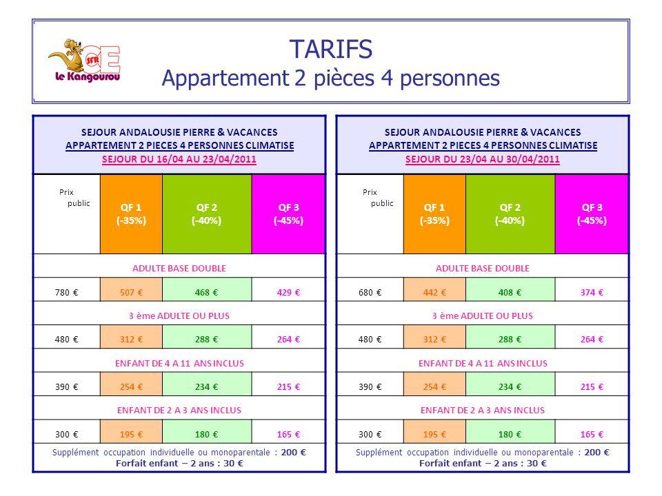 TARIFS Appartement 2 pièces 4 personnes SEJOUR ANDALOUSIE PIERRE & VACANCES APPARTEMENT 2 PIECES 4 PERSONNES CLIMATISE SEJOUR DU 16/04 AU 23/04/2011 P