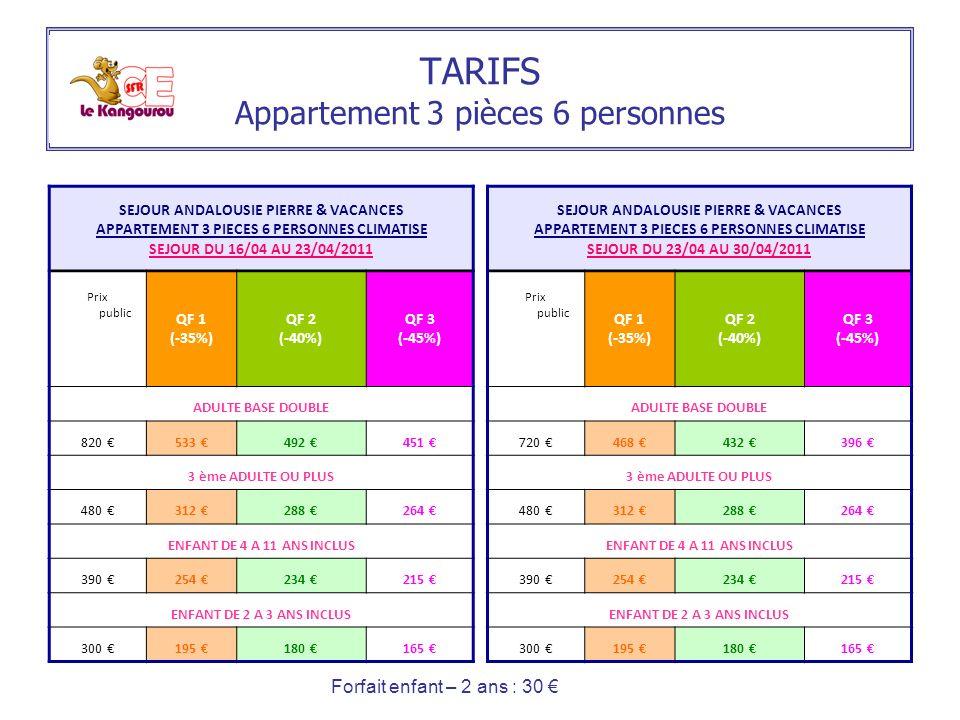 TARIFS Appartement 3 pièces 6 personnes SEJOUR ANDALOUSIE PIERRE & VACANCES APPARTEMENT 3 PIECES 6 PERSONNES CLIMATISE SEJOUR DU 16/04 AU 23/04/2011 P