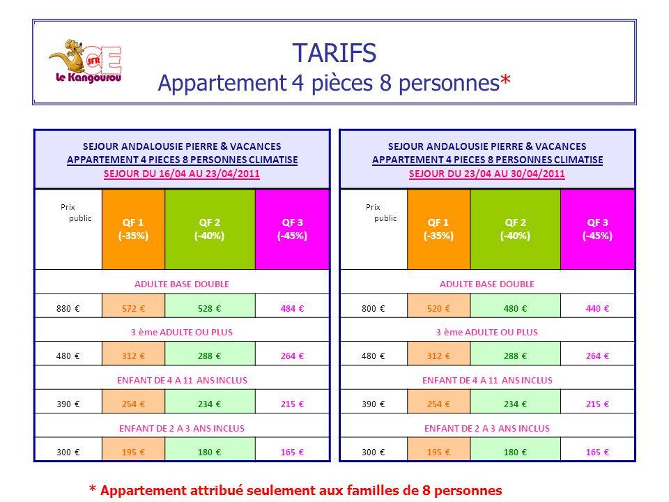 TARIFS Appartement 4 pièces 8 personnes* SEJOUR ANDALOUSIE PIERRE & VACANCES APPARTEMENT 4 PIECES 8 PERSONNES CLIMATISE SEJOUR DU 16/04 AU 23/04/2011