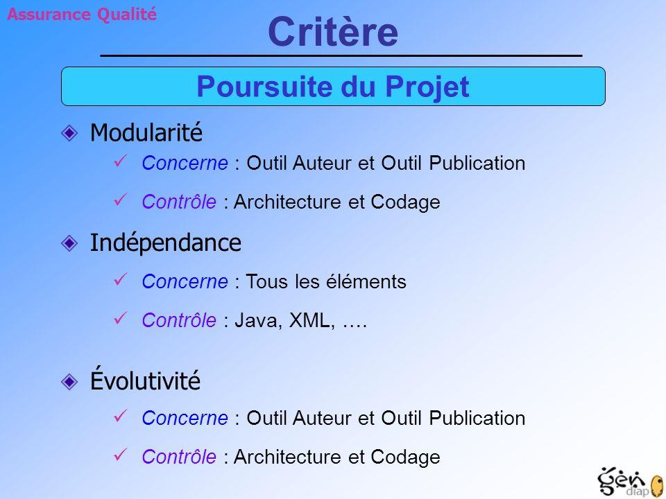Contrôle : Architecture et Codage Concerne : Outil Auteur et Outil Publication Contrôle : Java, XML, …. Concerne : Tous les éléments Contrôle : Archit