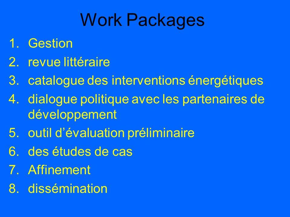 Work Packages 1.Gestion 2.revue littéraire 3.catalogue des interventions énergétiques 4.dialogue politique avec les partenaires de développement 5.out