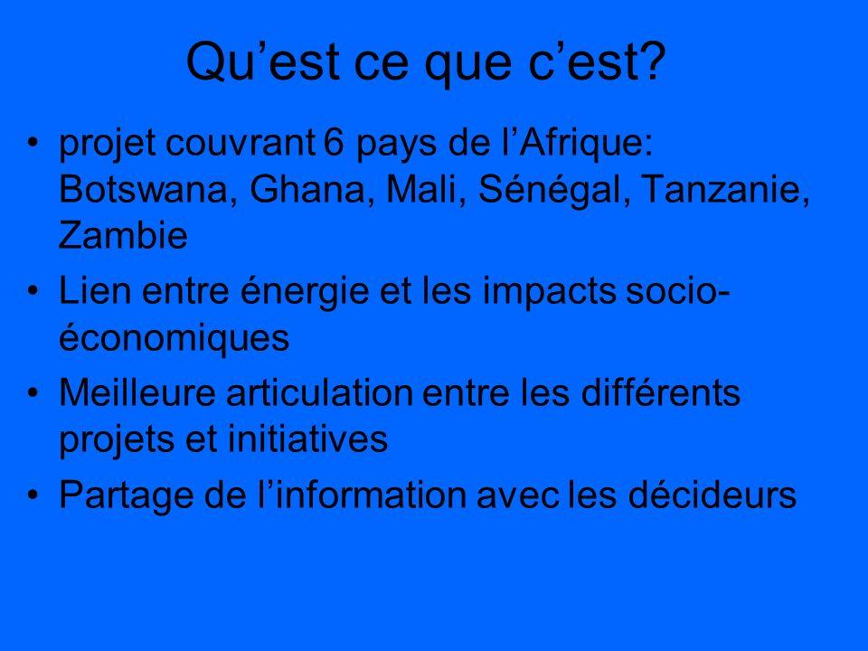 Quest ce que cest? projet couvrant 6 pays de lAfrique: Botswana, Ghana, Mali, Sénégal, Tanzanie, Zambie Lien entre énergie et les impacts socio- écono