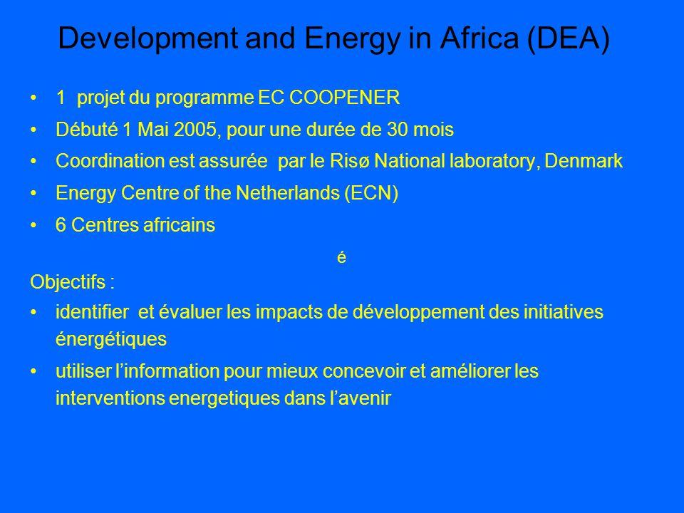 Development and Energy in Africa (DEA) 1 projet du programme EC COOPENER Débuté 1 Mai 2005, pour une durée de 30 mois Coordination est assurée par le