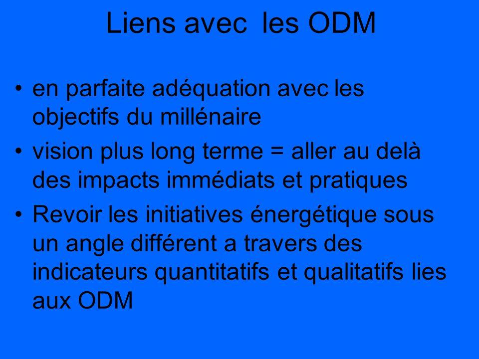 Liens avec les ODM en parfaite adéquation avec les objectifs du millénaire vision plus long terme = aller au delà des impacts immédiats et pratiques R