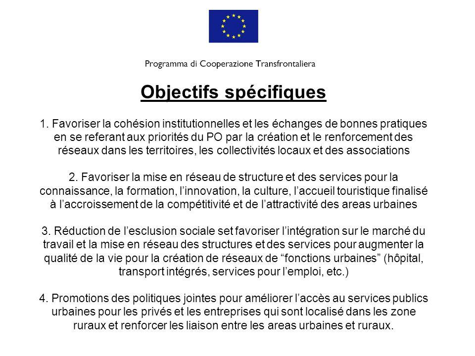 Objectifs spécifiques 1. Favoriser la cohésion institutionnelles et les échanges de bonnes pratiques en se referant aux priorités du PO par la créatio