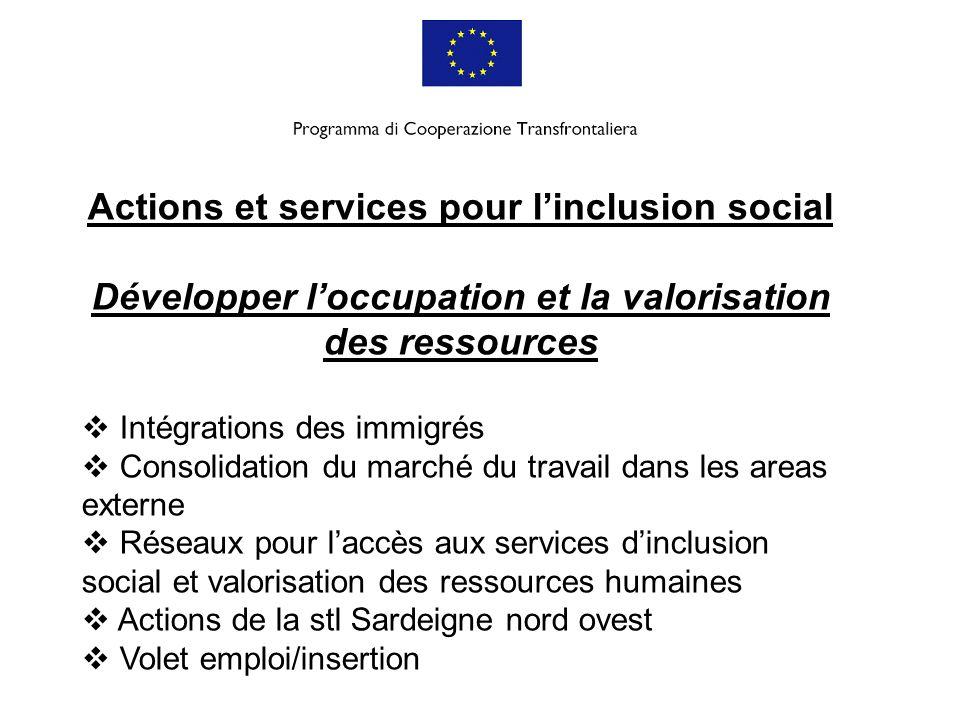 Actions et services pour linclusion social Développer loccupation et la valorisation des ressources Intégrations des immigrés Consolidation du marché