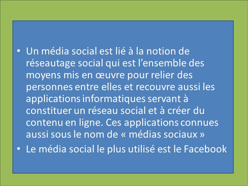 Un média social est lié à la notion de réseautage social qui est lensemble des moyens mis en œuvre pour relier des personnes entre elles et recouvre a