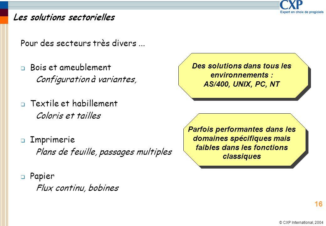 © CXP International, 2004 Les solutions sectorielles Pour des secteurs très divers... Bois et ameublement Configuration à variantes, Textile et habill