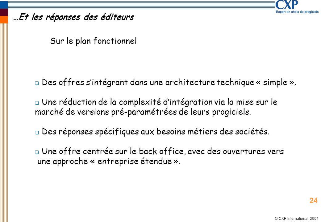 © CXP International, 2004 …Et les réponses des éditeurs Des offres sintégrant dans une architecture technique « simple ». Une réduction de la complexi