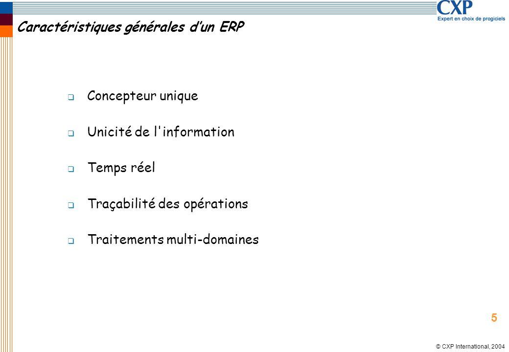 © CXP International, 2004 Caractéristiques générales dun ERP Concepteur unique Unicité de l'information Temps réel Traçabilité des opérations Traiteme