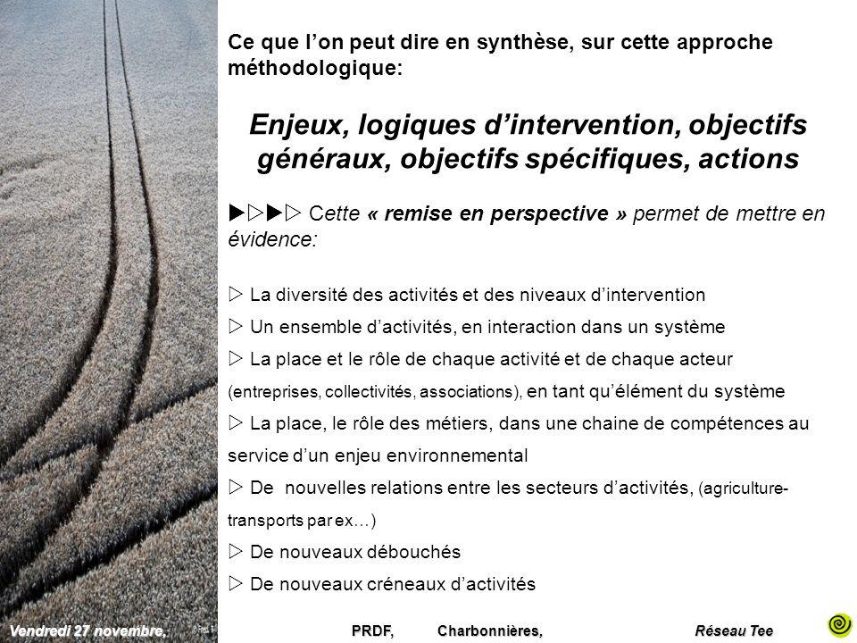 Ce que lon peut dire en synthèse, sur cette approche méthodologique: Enjeux, logiques dintervention, objectifs généraux, objectifs spécifiques, action