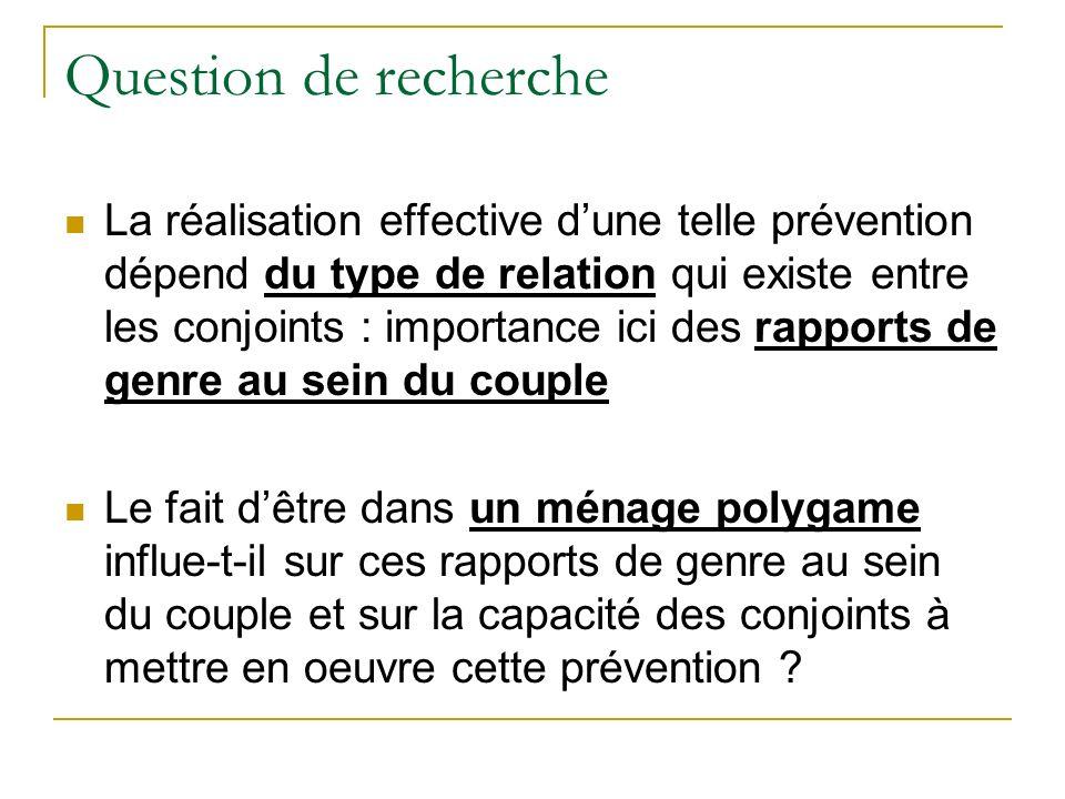 Question de recherche La réalisation effective dune telle prévention dépend du type de relation qui existe entre les conjoints : importance ici des ra