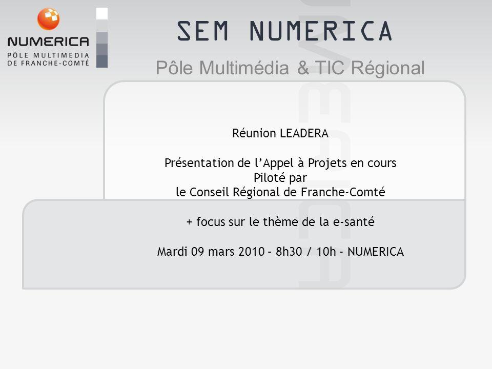 SEM NUMERICA Pôle Multimédia & TIC Régional Réunion LEADERA Présentation de lAppel à Projets en cours Piloté par le Conseil Régional de Franche-Comté